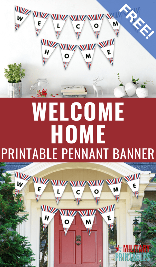 Free Welcome Home Printable Pennant Banner #military #homecomingsign #militaryhomecoming #deployment #militarylife
