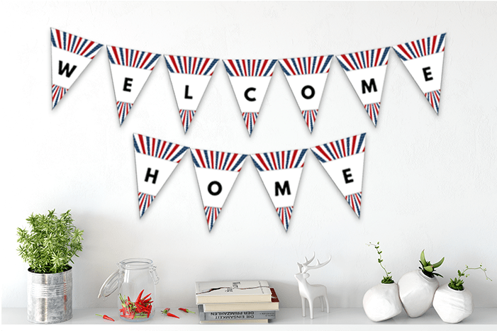 It's just an image of Printable Pennant Banner inside birthday