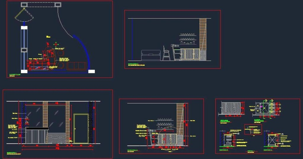 bar counter residence autocad dwg plan n design