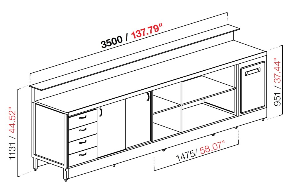 neutral bar counter bbl3500ab with counter top setting