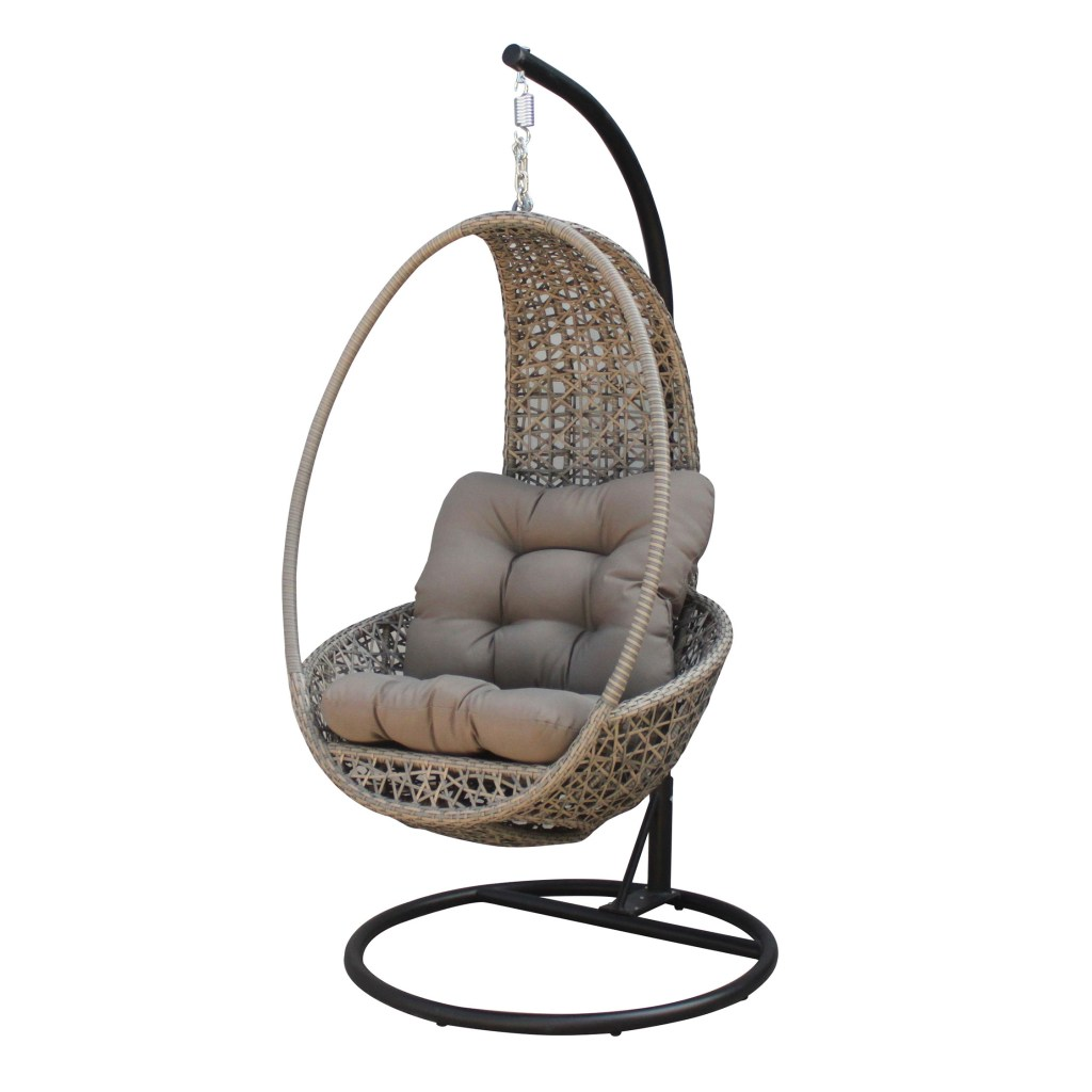 pangolin all weather wicker hanging chair with cushions khaki