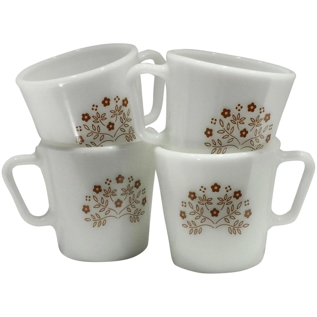 1970s vintage pyrex coffee mugs summer impressions in ginger floral pattern set of four 4