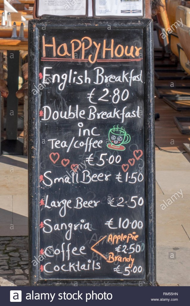 a happy hour bar chalk board menu advertising drinks and