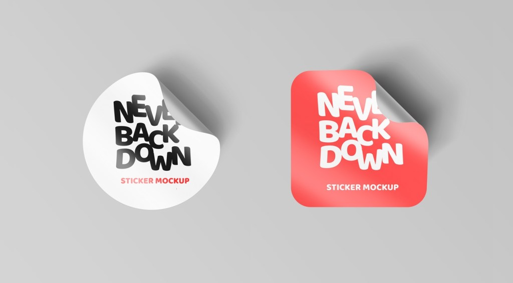 curl edged sticker mockups graphicsfuel