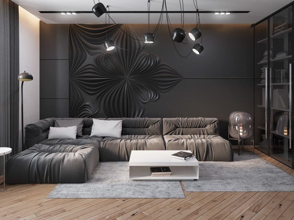 dark living room design ideas with sophisticated decor bring