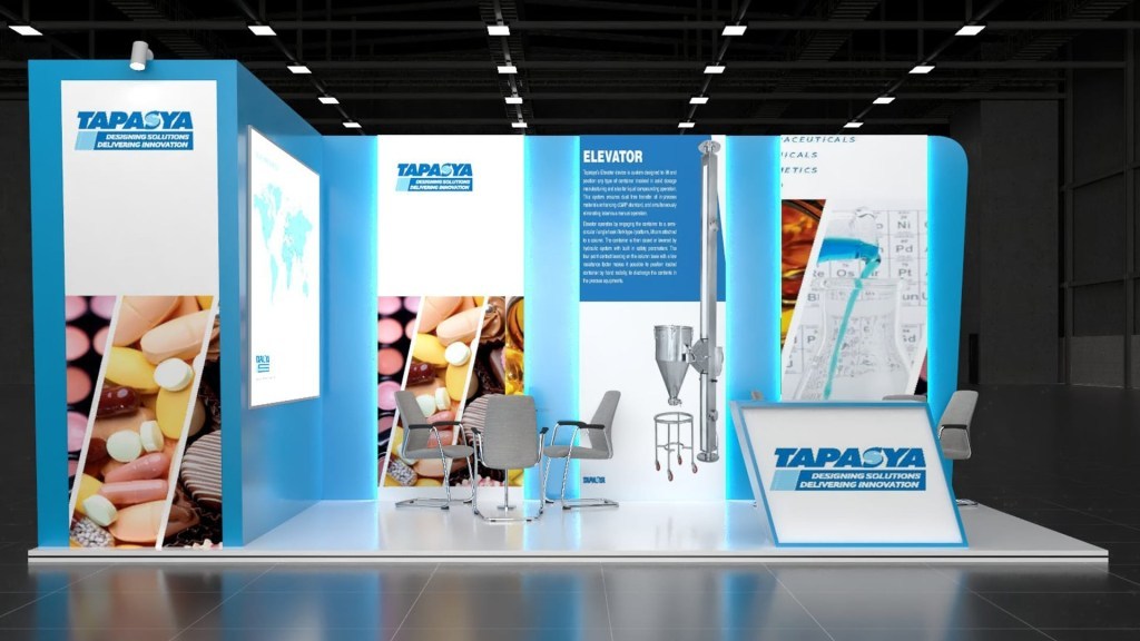 design and visualize awesome exhibition stand stage kiosk