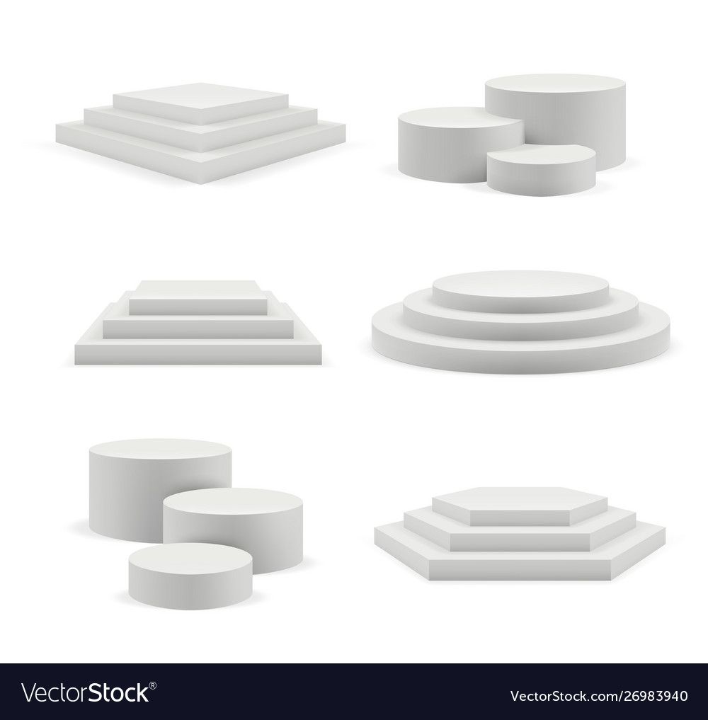 empty podium exhibition stages advertising vector image