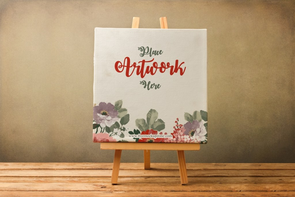 free canvas on wooden stand mockup for artistsfree mockup zone