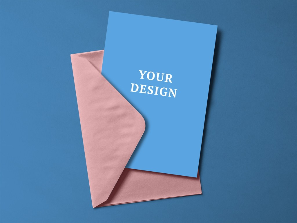 free greeting card with envelope mockup psd free mockup