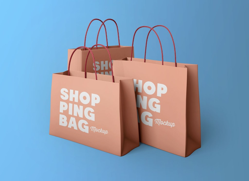 free multiple sizes paper shopping bags mockup psd good