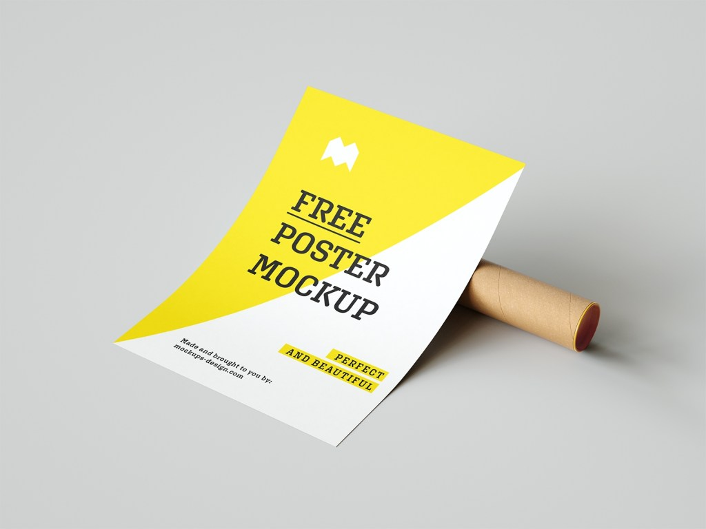 free poster mockup with a paper tube free mockup