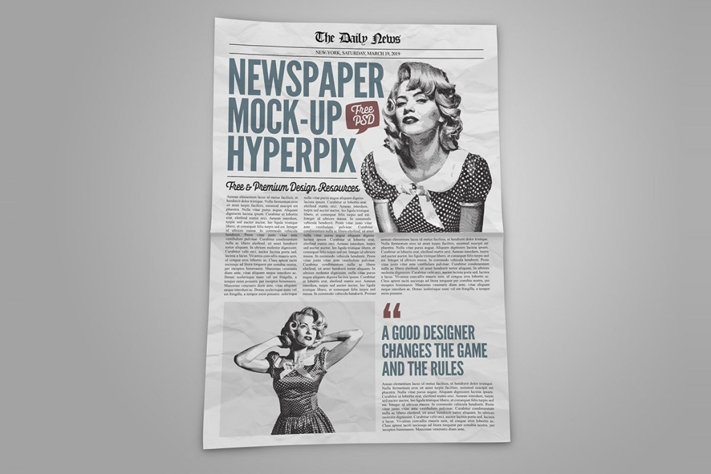 full page newspaper mockup psd template hyperpix