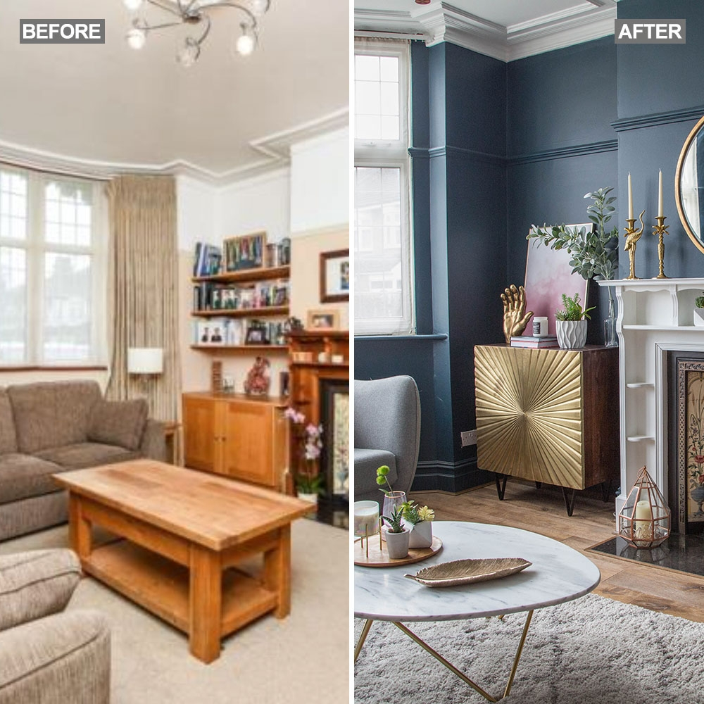 living room makeover with dark blue walls pink sofa and