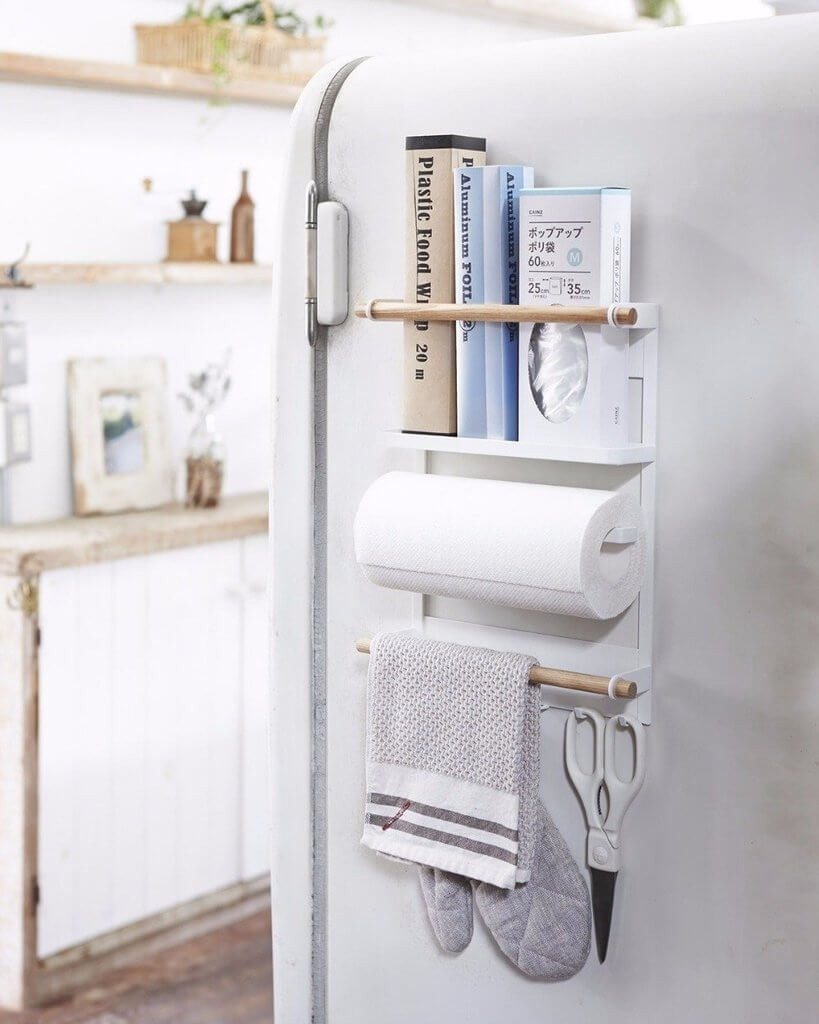magnetic kitchen organizer with paper towel holder homebnc