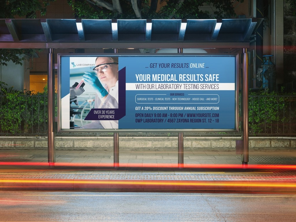 medical laboratory billboard template owpictures on dribbble