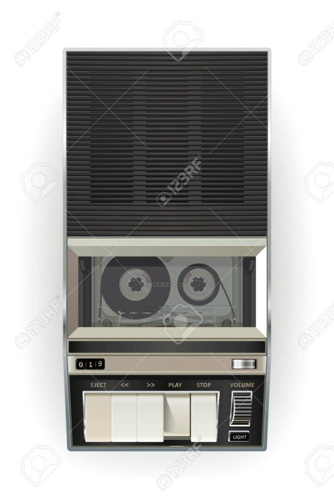 old cassette tape player on a white background vector illustration