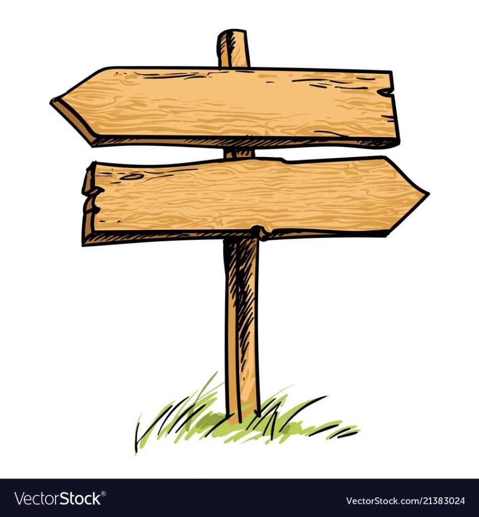 old wooden double direction sign royalty free vector image