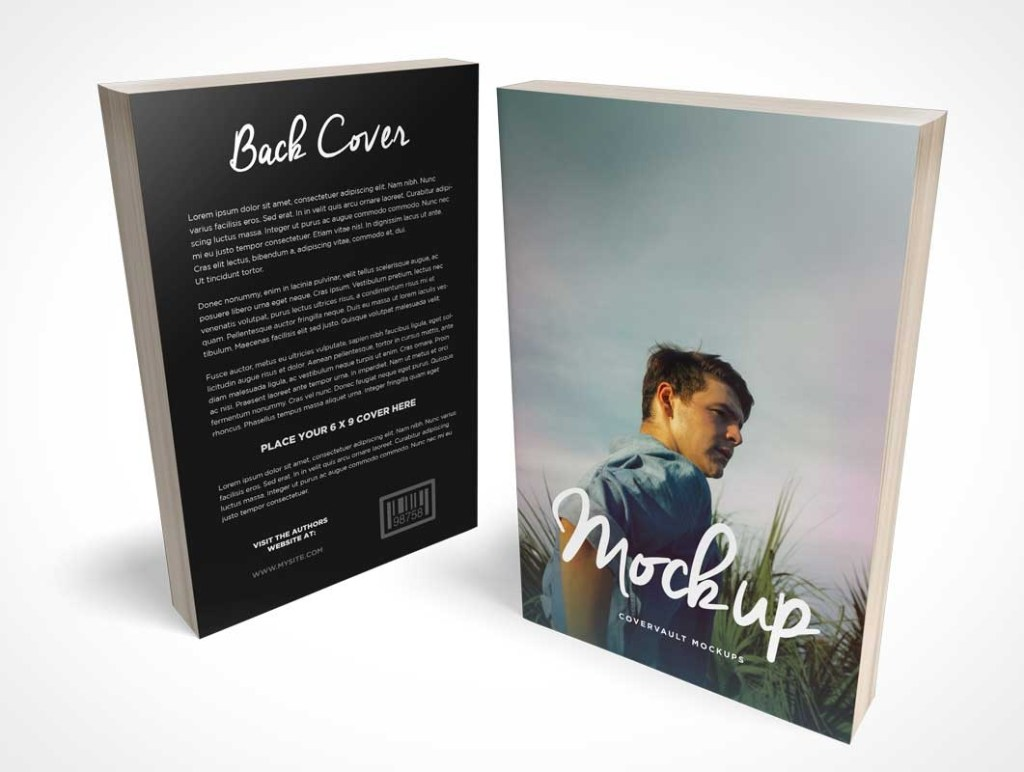 paperback book 6 x 9 c format front back covers psd mockup