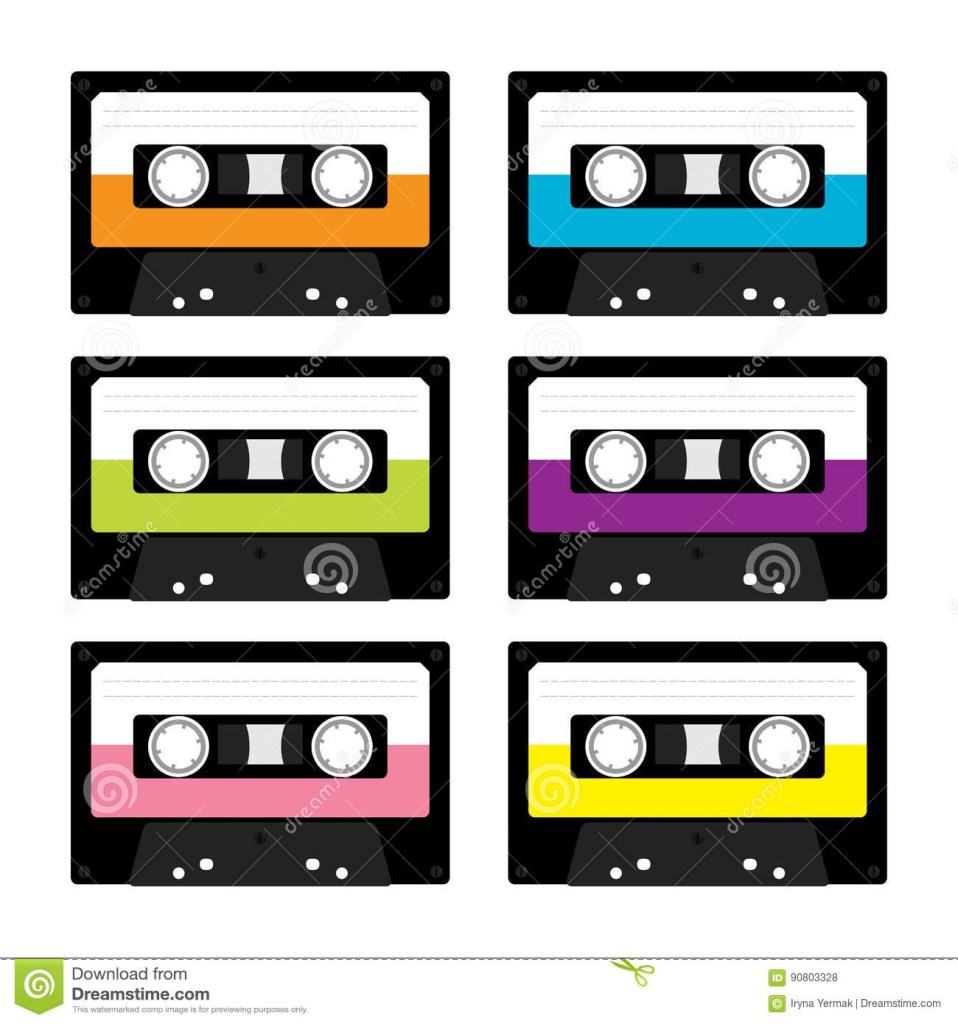 plastic audio tape cassette retro music icon set recording