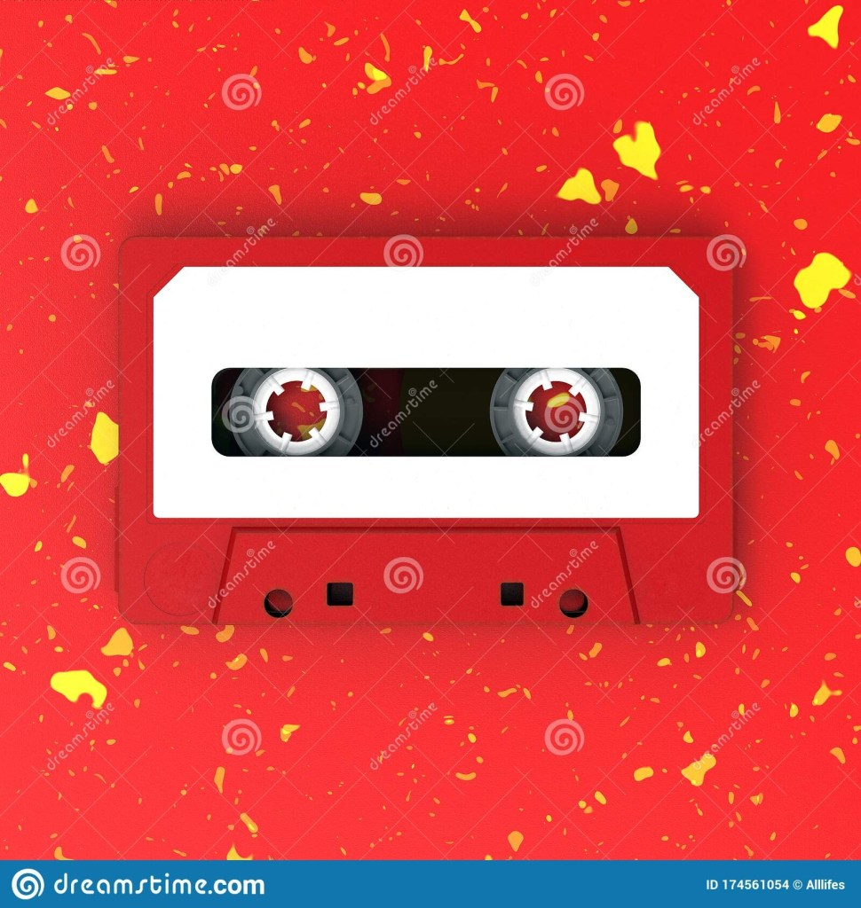 red cassette vintage audio cassette tape with white label