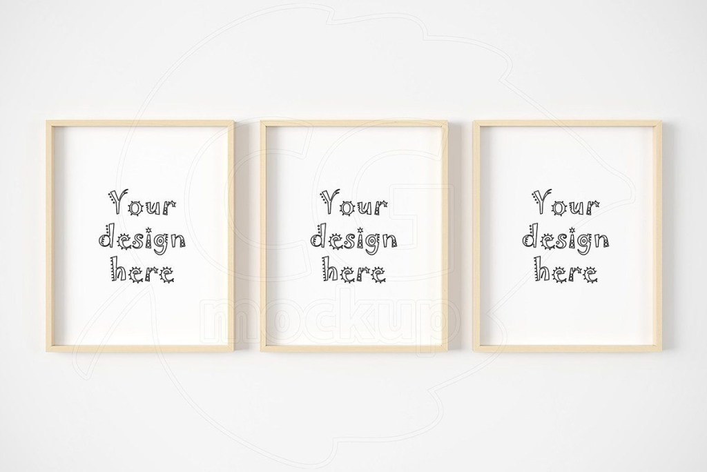 set of three light wood frame mockup frame mockups mockup