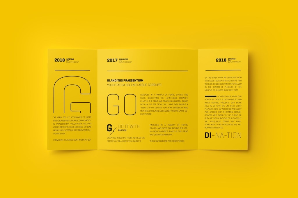square gatefold yellow trifold brochure example venngage