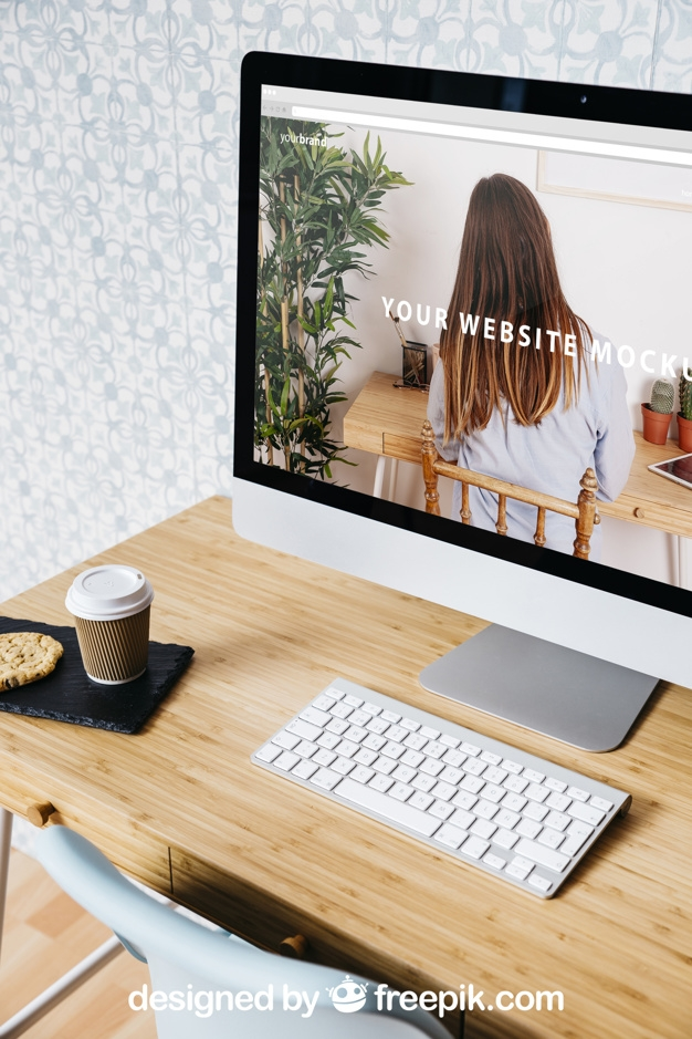 technology and workspace mockup with desktop pc psd file