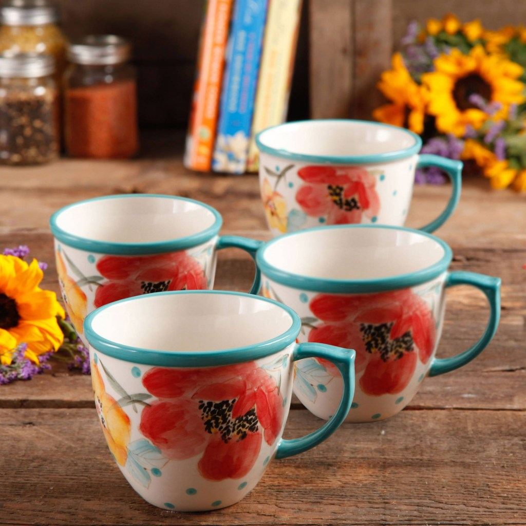 the pioneer woman vintage bloom 4 piece 16 ounce coffee cup set white walmart