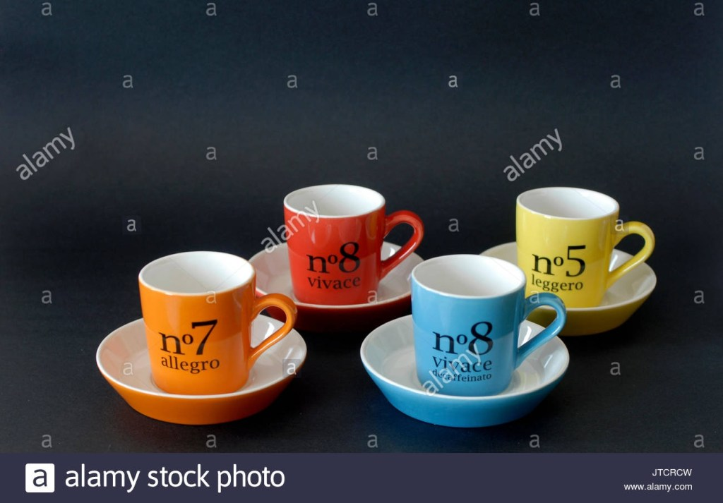 vintage coffee mugs with names of musical tempos stock photo