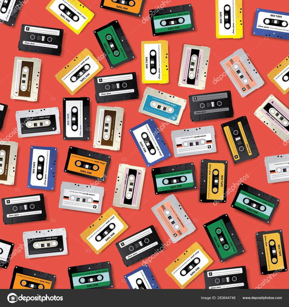 vintage retro cassette tape pattern design template vector illustration 283644746