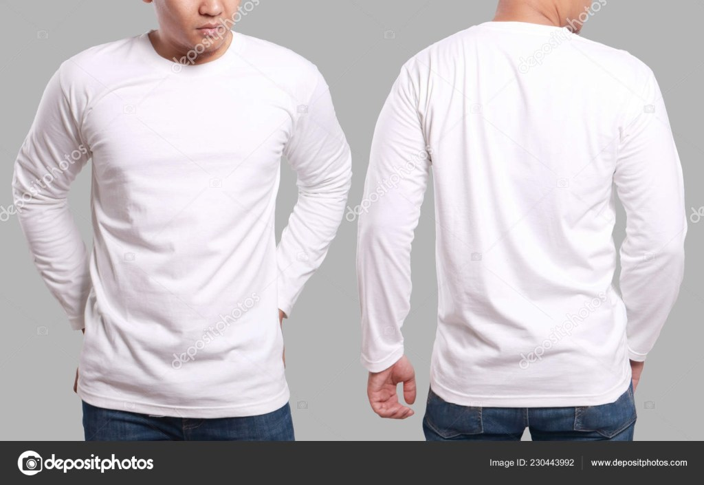 white long sleeved t shirt mock up front and back view isolated male model wear plain white shirt mockup long sleeve shirt design template blank