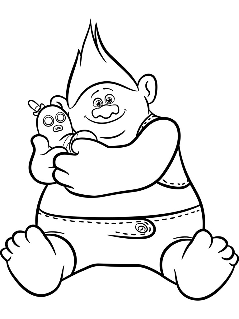 trolls branch coloring page