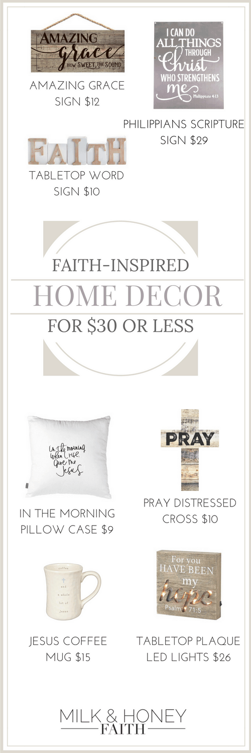 Faith-inspired home decor for under $30. Click on the image to get links for the product.