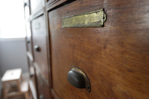 1800s filing drawers in the kitchen, Photo Source: Renovation Slaves
