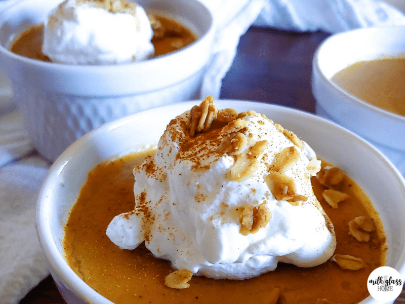 pumpkin pie pudding cup close up