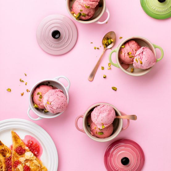 Image of Raspberry & Coconut Ice Cream with Almond French Toast in Le Creuset cookware