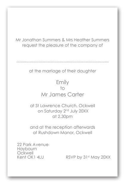 Wedding Invitation Wording Brides Divorced Parents not remarried as hosts day