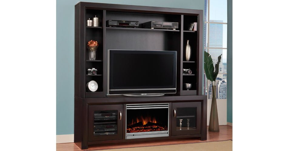 home entertainment fireplace living room furniture decorating ideas with black leather couch contempo unit - millbank family ...