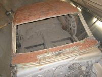 Classic Car Restoration Classic Car Plymouth Barracuda 1965 front after several sessions of sandblasting