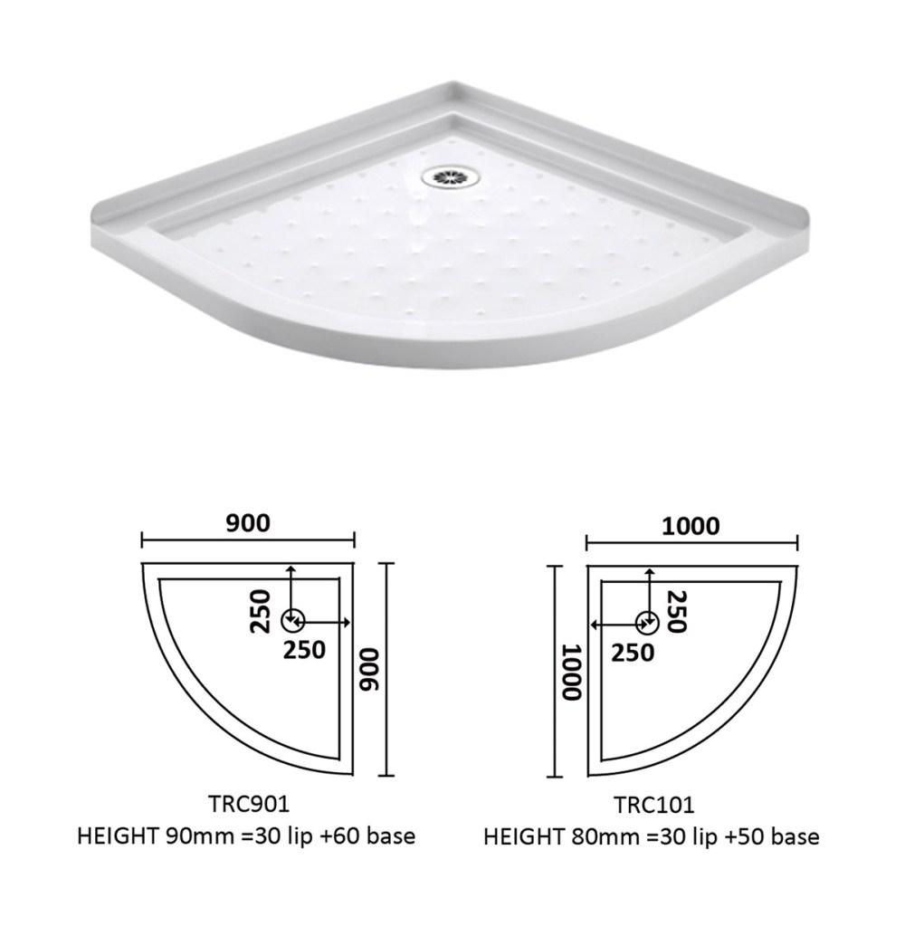 medium resolution of corner waste arc shower tray 900 900