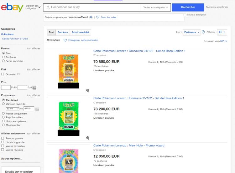 Les enchères des cartes Pokémon du rappeur lorenzo