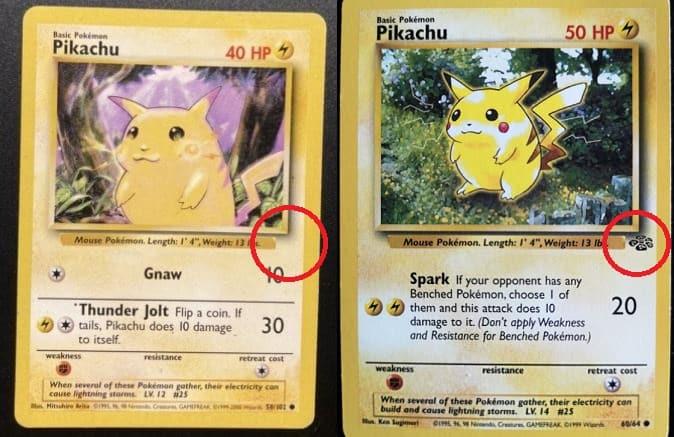 Deux cartes Pikachu de set différents