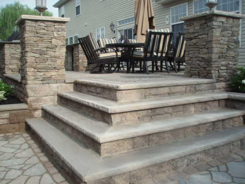 Custom Stairway To Backyard Entertainment Area Millenium Stoneworks