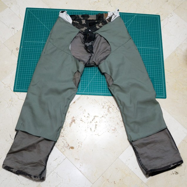 While not visible here, under this added reinforcement fabric these pants are already lined with woven Kevlar fabric. Now there are two layers of two different abrasion-resistant fabrics. These custom DIY motorcycle armored pants are going to be really protective now!