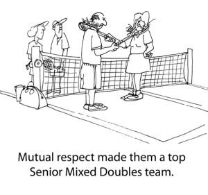 Mixed doubles cartoon