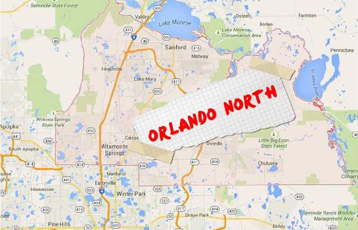 Orlando North written on note taped to map