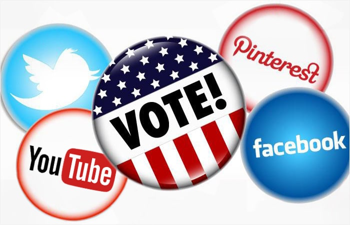 Social media icons on voting buttons