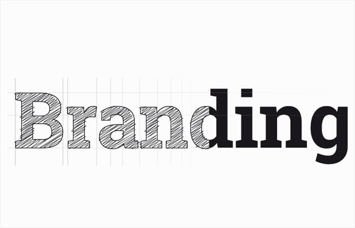 branding word sketched with guides