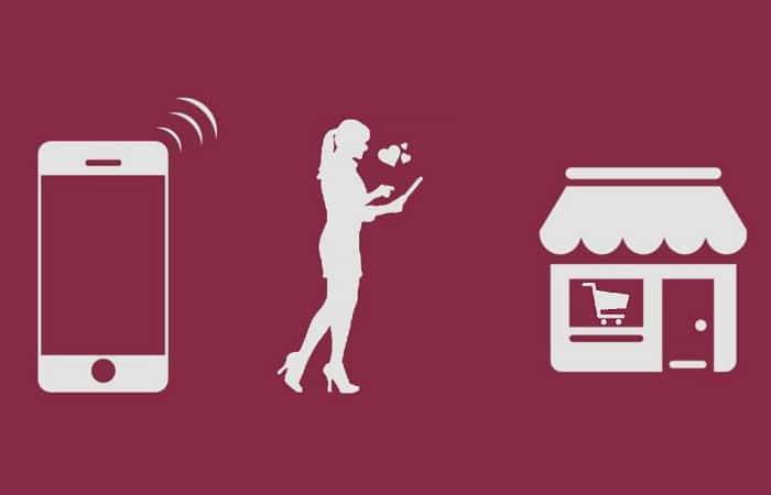 silhouettes of shopper icons with a cellphone, woman, and building