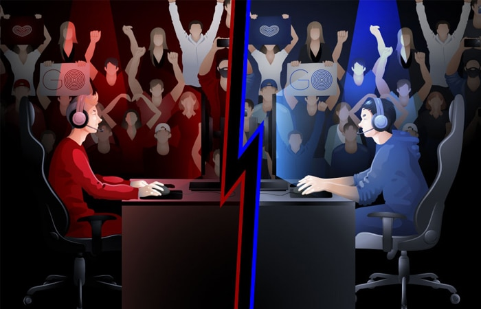 Esports - gaming competition illustration with two gamers facing off and crowds cheering them on